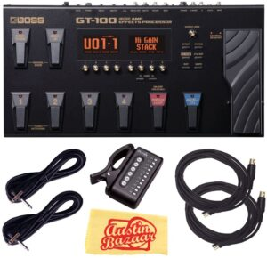 Boss GT-100 Amp Effects Processor Pedal Bundle with Power Supply